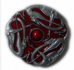 CELTIC DOGS (RED) Belt Buckle + display stand. Product code DH6